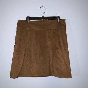 High Waisted Brown Velvet Skirt